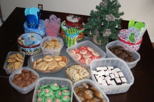 This is what it looked like when it came time to distribute into cookie tins.