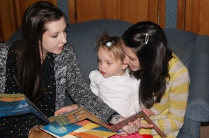 My favorite moment so far... reading with my little lady and my bff.
