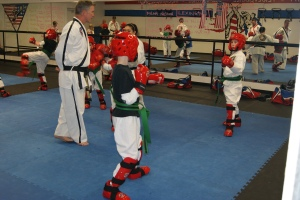 Getting ready for round one of four in the sparring test.