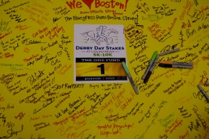 Each race participant signed this poster to send to Boston.