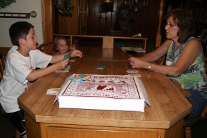 First night in Hegins.  Prima pizza and a game of Go Fish with Nana.