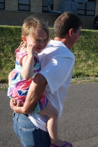 Piggy-back ride with Papoose to watch Uncle Bronson graduate High School.