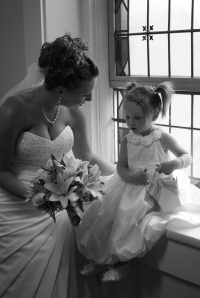Lily as the flower girl in Megan's wedding.  Check out these two beauties!