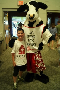 Posing with the Chick-Fil-A cow after lunch.