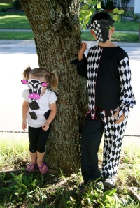 "Rydan is always looking for an excuse to wear his old Halloween costumes, so he dressed as the ""Joker Cow."""