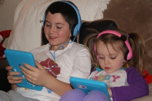 They were most excited about their new headphones and Kurio 7s.  (kid-friendly tablets)
