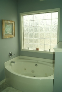 Our master bathroom, featuring this whirlpool tub.