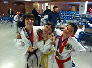 Clearly, they had a fun time.  Medals for all three too!