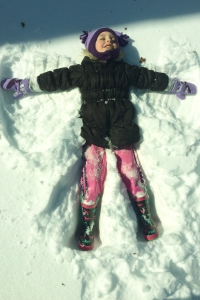 Lily's first ever snow angel.