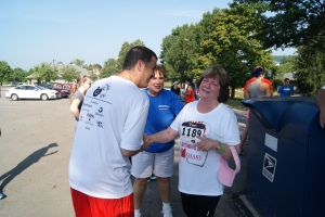 Another highlight was this moment. This is Ryan and Carol, two double organ transplant recipients congratulating each other on their 5K finishes.